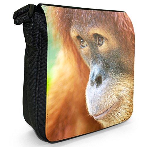 Orangutan Scimmia primati animali piccolo nero Tela Borsa a tracolla, taglia S Close Up Orangutan