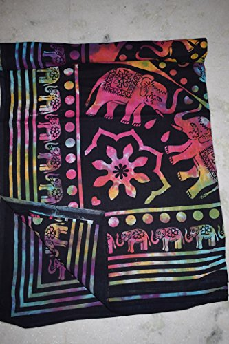 Tribal asiatischen Textilien Tie Dye Elefanten Mandala Hippie Tapisserie, Hippie-Mandala Bohemian Wandteppiche, Indian Decor, Wohnheim Psychedelic Wandteppich für Ethnic Dekorative (Multi Farbe) (Dye Farbe Multi Tie)