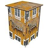 Werkhaus - Photohocker Hocker, Motiv: Milchbar, Farbe: Gelb-Beige, Maße: H42xB29,5xT29,5cm (SH8036)