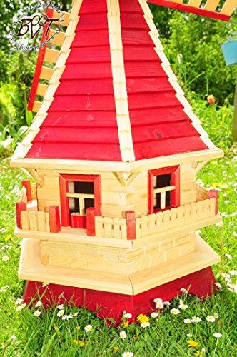 xl-muehlen-xxl-windmuehle-holz-design-gartenwindmuehle-130-cm-einstoeckig-klassik-mit-balkon-rand-wms-ra130-ro-ms-rot-fenster-voll-funktionstuechtigschoene-details-fensterkreuz-deko-windmuehlen-o