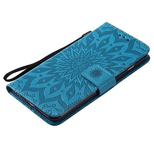 JIALUN-Telefon Fall Für Apple IPhone 6 & 6s Plus Fall, mit Lanyard, Card Slot, Halterung, Magnetische Wölbung Sun Flower Flat Open Phone Shell ( Color : Purple ) Blue