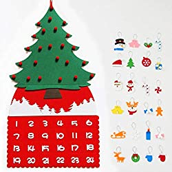 Bricolaje Árbol de Navidad de fieltro para niños Calendario de Adviento con bolsillos y adornos navideños,Cuenta atrás Navidad Calendario colgar en la pared para decoraciones navideñas,20x35 pulgadas