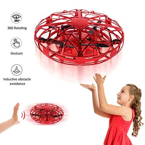 YORKOO Geschenke zum 5-8 Jahre alt Mädchen Fliegender Ball Spielzeuge Mini-Drohnen für Kinder Handgesteuert RC Spielzeuge Air Magic Hogs UFO Spielzeuge mit LED Beleuchtung zum Kinder Rot