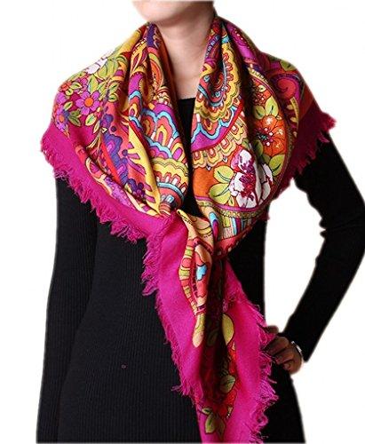 Prettystern - 105cm 100% carrés de laine ouverte (sergé) à franges en tissu - Paisley Imprimé cachemire et d'ornement coloré Multicolore - Rose