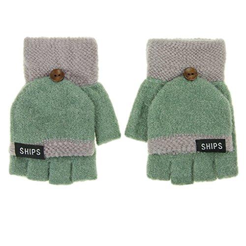 Winter Handschuhe Fingerlos Fäustlinge Damen Mädchen Strickhandschuhe Fingerhandschuhe mit Flip Top