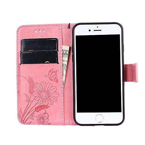 Custodia per iPhone 7 Cover Pelle,SKYXD Colorata Fiore Formica Disegni 3D Morbida Flip Libro PU Pelle Portafoglio Custodia Case per iPhone 7 Guscio Protettivo Coperture Antiurto 360 Protezione Complet Rosa