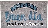 Koko Doormats, Felpudo Hoy Es Un Buen Día, Nylon, Gris, 70x40 cm