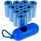 Zacro 150Pcs/10 Rouleaux Sacs à Déjections Sacs de excréments Sachet de Ramasse de Crotte de Chien avec Distributeur et Clip de Laisse pour Caines, Chien (Bleu)