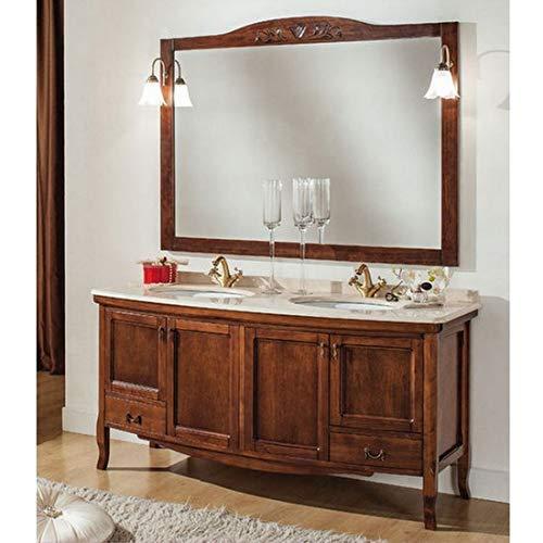 Mobile arredo bagno arte povera doppio lavabo top marmo 160 cm specchiera