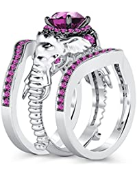 Silvernshine Milgrain Halo 9K White Gold Plated 1.2Ct Round Pink Sapphire CZ Diamond Elephant Ring
