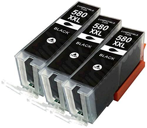 3X Pigment SCHWARZ PGI-580PGBK XXL Druckerpatronen kompatibel für Canon Pixma TR7550 TR8550 TS6150 TS6151 TS8150 TS8151 TS8152 TS9150 TS9155 -