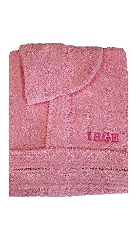 Accappatoio con cappuccio in spugna 100% cotone tinta unita uomo donna unisex irge (m, rosa)