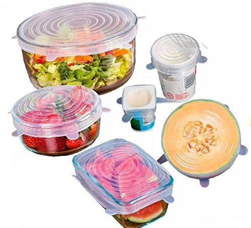 THERESAS TRADING Stretchy Silicone Reusable Super-flexible Food Saving Flat Lids(White,12oz) - Set of 6
