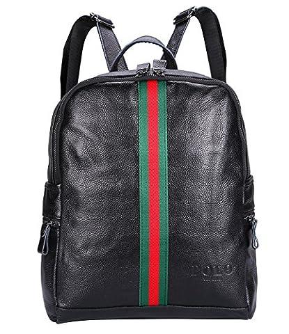 VIDENG POLO Leder Frau Rucksack Neu Damen Beiläufige Tasche für die Schule Reisen Einkaufen Hochschule (Schwarz-BG2)