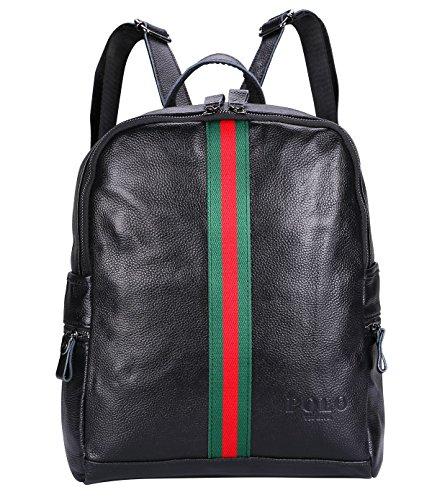 VIDENG POLO Leder Frau Rucksack Neu Damen Beiläufige Tasche für die Schule Reisen Einkaufen Hochschule (Schwarz-BG2) (Tasche Leder Gucci)