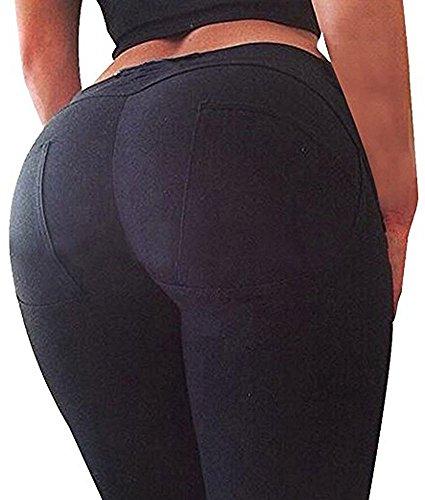 Minetom Hoch Elastizität Push Up Hüfte Hose Fitness Bleistift Hose Dünn Fitnessstudio Breath Leggings Skinny Jeans (EU XS, Schwarz)