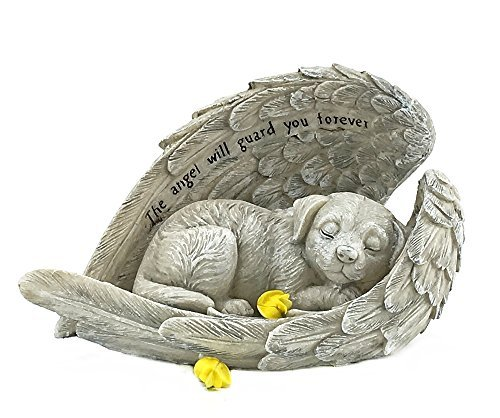Bellaa 22885 Grabmarkierer für Hunde, Engel, 22,9 cm, Polyresin, Stein-Finish