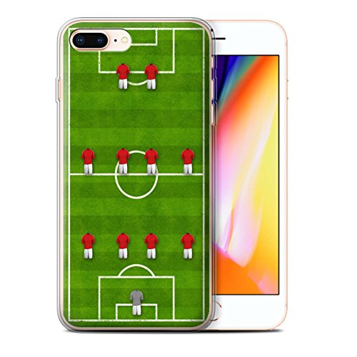 Stuff4 Gel TPU Hülle / Case für Apple iPhone 8 Plus / Pack 9pcs / Fußball Bildung Kollektion 4-4-2/Rot