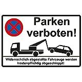 """Hinweisschild 300x200 mm """"Parken verboten"""" stabile Aluminiumverbundplatte 3mm stark"""