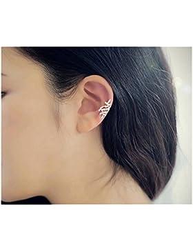 Daesar 1 Paar Blatt Clip Ohrringe 925 Silber Ohrklemme Damen Ohr Klammern Ear Cuff Fake Piercing Fake Loch Piercing...