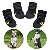 Protective Dog Boots, Set of 4 Waterproof Non-Slip Dog Shoes with Wear-resistant and Rugged Anti-Slip Sole for Medium and Large Dogs - Black (6#)