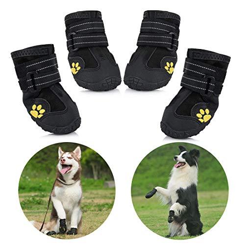 Zapatos para Perros, 4 Pcs Impermeable Zapatos Perro para Mediano y Grandes Perros - Negro (8#)
