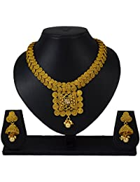 Sadnya Traditional Necklace Set With Jhumka Earring For Bridal Jewellery Antique Finish Necklace Set - BHNK09