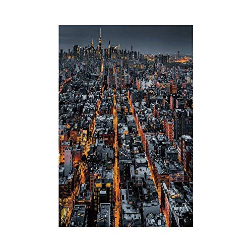 Liumiang Eco-Friendly Manual Custom Garden Flag Demonstration Flag Game Flag,City,Avenues Converging Towards Midtown in New York America Architecture Aerial,Marigold Grey Blackec d¨¦COR