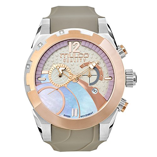 Watches MULCO Women's Collection, Gravity IOS Grey Silicone Strap, Stainless Steel Case, Analog, Quartz Swiss, Water Resistant