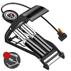 Idea Regalo - OurLeeme Pompa a Pedale, Pompa d'Aria a Pedale del Cilindro con gonfiatore per Pneumatici a manometro per Moto da Bicicletta a Forma di Palla (2 Cilindro)