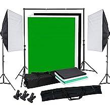 OUBO Profi Fotostudio Set Studioleuchte Studiosets Hintergrundsystem inkl. 4X Hintergrundstoff(schwarz, 2x wei?, gr¨¹n) Stativ Softbox Schutztasche ¡