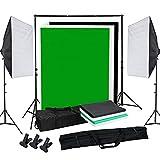 OUBO Profi Fotostudio Set Tageslichtlampe Studiosets Greenscreen Set Fotoleinwand Hintergrund inkl. 50 * 70cm Dauerlicht Softbox 4X Hintergrundstoff(Schwarz, 2X weiß, grün) Schutztasche