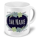 XXL Riesen-Tasse mit Namen personalisiert - Motiv Flowers - individuell gestalten - Namenstasse, Kaffeebecher, Becher, Mug