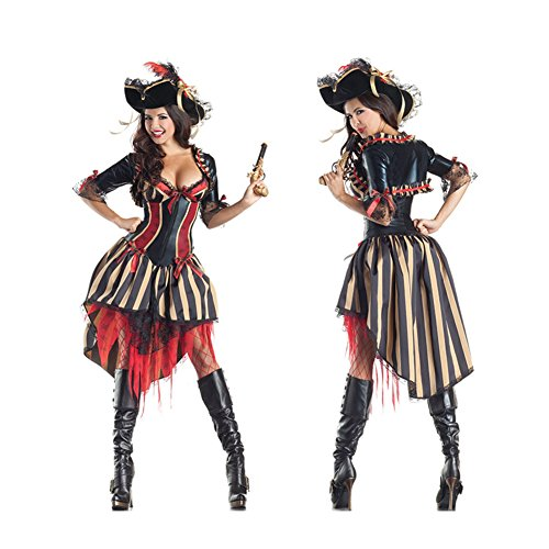 LifeWheel Halloween Königin Sexy Frauen-Abendkleid Cosplay-Piraten-Kostüm One Size (Ideen Für Halloween Kostüme Frauen)