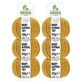 100% Alpakawolle in 50+ Farben (kratzfrei) - 300g Set (6 x 50g) - weiche Baby Alpaka Wolle zum Stricken & Häkeln in 6 Garnstärken by Hansa-Farm - Senfgelb Heather (Gelb)