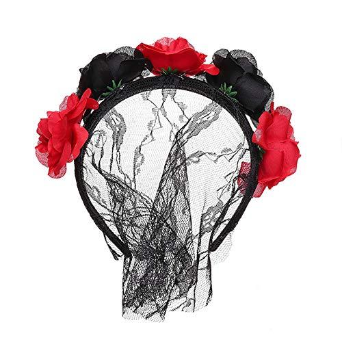 Bangle009 Haarreif für Damen, Spitze, Blume, Weihnachtsdekoration Schwarz/Rot