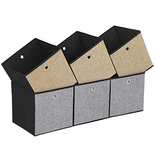 SONGMICS 6er Set Aufbewahrungsbox, Seiten in verschiedenen Farben - Braun, Grau und Schwarz, faltbare Stoffbox für Kleidung, Faltbox, Spielzeug-Organizer, 30 x 30 x 30 cm ROB30GB - Regal Box