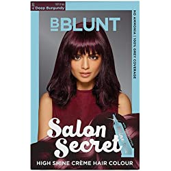 BBLUNT Salon Secret High Shine Creme Hair Colour, Deep Burgundy 4.20, 100g with Shine Tonic, 8ml