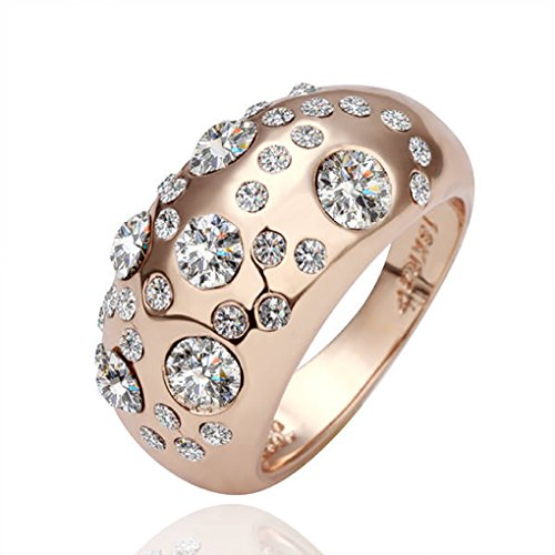LUFA Für Frauen und Damen Einzigartige Fesselnde Kristalllegierungs-Schmuck-Ring Kristall Glitter Zubehör Golden + Crystal White&18mm, + Cristal blanco de oro, 18mm - Crystal Malt