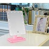MMlove Espejo del Maquillaje Iluminado, Espejo Cosmético Encendido de la Vanidad con Movible 10x Ampliación 20 LED, Perfecto para Dormitorio, Sobremesa, Baño, Vestidor, Afeitado (rosa)