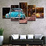 HXZFF Moderne Dekoration 5-teilig Leinwand drucke Kunstwerk Blaues Auto Wandkunst Malerei Das Bild Druck Auf Leinwand Kunstwerk Bilder Für Zuhause Büro 150x80 cm rahmenlose