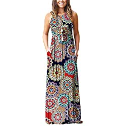 Rojeam Vestido de Verano Largo sólido con Boho de Playa Vestido de Mujer con Bolsillos