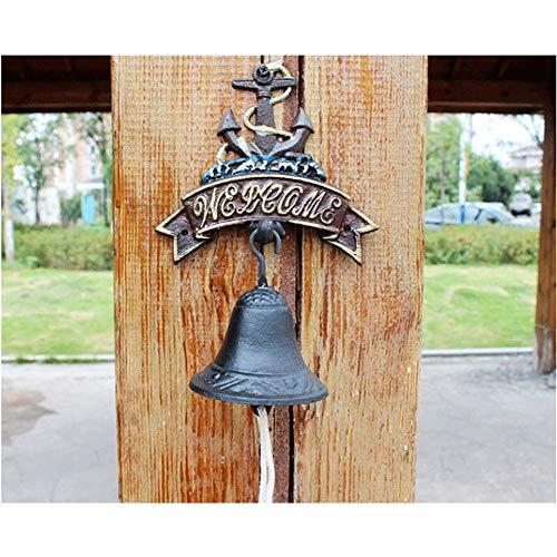 Gusseisen Anker Willkommen Türklingel Bauernhaus Stil Kreative Metall Wandhalterung Türklingel for Terrassentür Garten Bar Dekorative Glocken (Farbe : C1, Größe : As Shown) (Messing Anker Türklopfer)