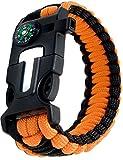Outdoor saxx–4in 1Outdoor Survival Multi Tool Paracord Sopravvivenza Bracciale | bussola, termometro, Fischietto, viti di cacciavite, Coltello | Arancione