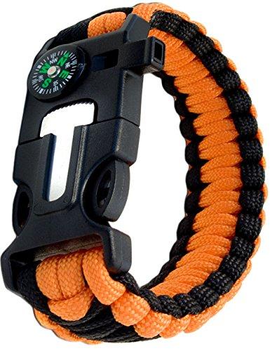 Outdoor saxx® – 4 en 1 Outdoor Survival Bracelet multi tool paracorde de survie |, thermomètre, boussole, sifflet, Vis de tournevis, couteau | Orange