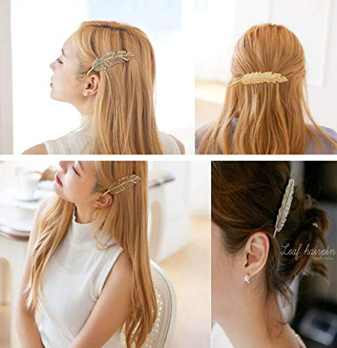 CINEEN 3 Farben Metall Feder Blatt Haarklammern Vintage Blatt förmigen Haarspangen Haarschmuck Kopfschmuck Haar Zubehör - 7