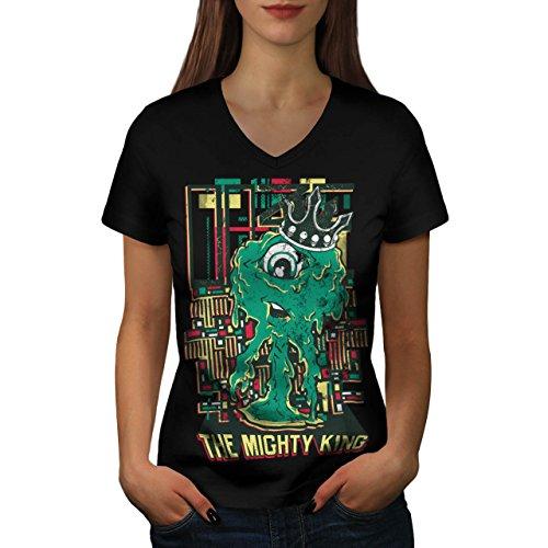 König Monster Niedlich Horror Zyklop Leben Damen M V-Ausschnitt T-shirt | Wellcoda