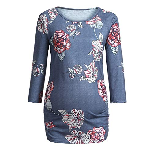 Amphia - T-Shirt mit Blumendruck für Schwangere FrauenFrauen Mutterschaft Langarm Blumendruck Tops Schwangere T-Shirt Kleidung - (Marine,XL)