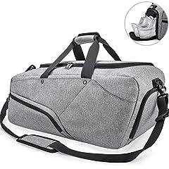 Idea Regalo - Borsone Palestra Uomo Borsa Sportiva Grande con Scomparto Scarpe Duffel Bag Borsone da Viaggio Impermeable Borsoni per Donna 45L Nero