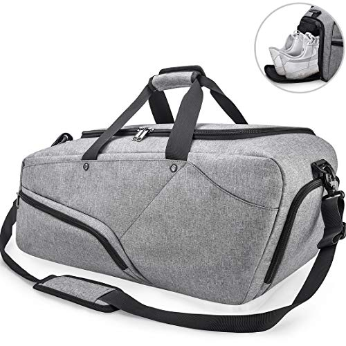 NUBILY Bolsa de Deporte Hombre Bolsas Gimnasio Mujer de Grande Viaje Impermeable con Compartimento para Zapatos Bolsos Deportivos Bolsa Fin de Semana Travel Duffle Bag para Hombres 45l Gris